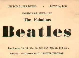 Advert for The Beatles at the Swimming Baths, Leyton, London, 8 April 1963