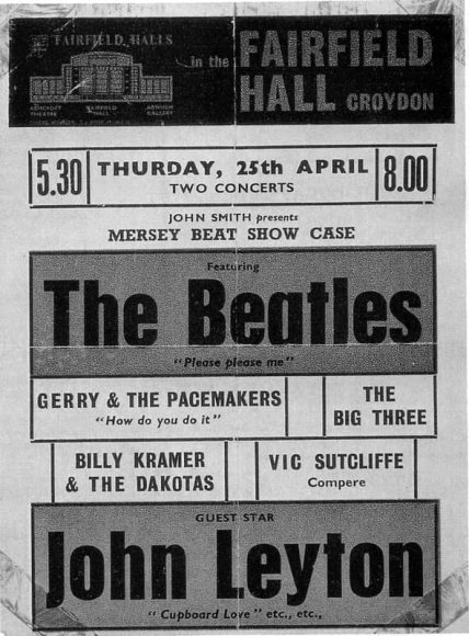 Poster for The Beatles at Fairfield Hall, Croydon, 25 April 1963