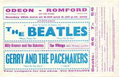 Poster for The Beatles at the Odeon, Romford, 16 June 1963