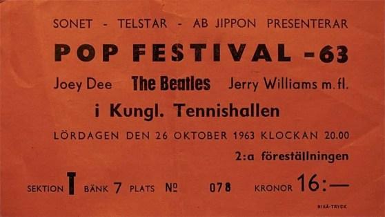 Ticket for The Beatles at Kungliga Tennishallen, Stockholm, Sweden, 26 October 1963