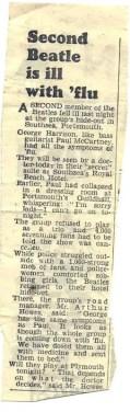 Newspaper report on Paul McCartney and George Harrison's flu, 12 November 1963