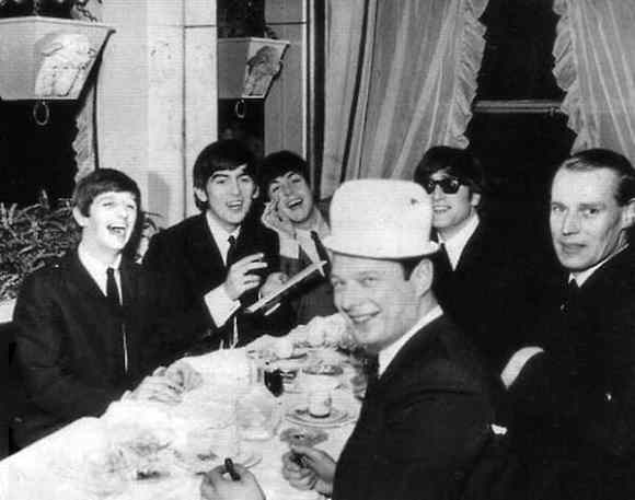 The Beatles, Brian Epstein and George Martin in Paris, 16 January 1964