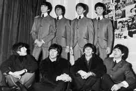 The Beatles with their Madame Tussaud's waxwork figures, London, 29 April 1964