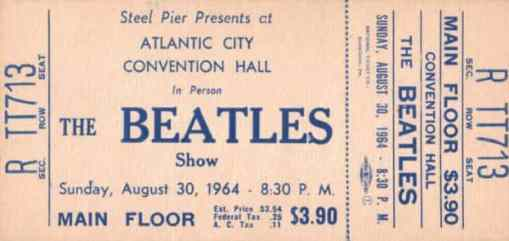 Ticket for The Beatles at Atlantic City Convention Hall, New Jersey, 30 August 1964