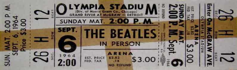 Ticket for The Beatles at Olympia Stadium, Detroit, 6 September 1964