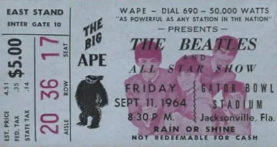 Ticket for The Beatles in Jacksonville, Florida, 11 September 1964
