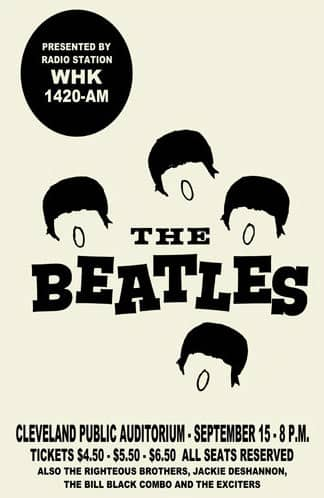 Poster for The Beatles in Cleveland, Ohio, 15 September 1964