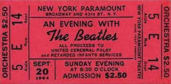 Ticket for The Beatles at the Paramount Theatre, New York City, 20 September 1964