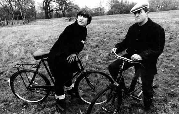 John Lennon and Norman Rossington filming Not Only... But Also, Wimbledon Common, London, 20 November 1964