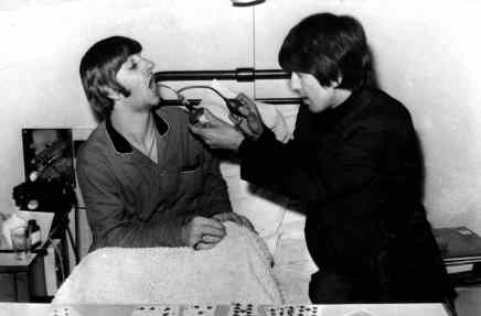 Ringo Starr and George Harrison, University College Hospital, London, 8 December 1964
