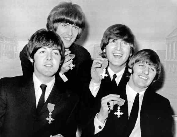 The Beatles with their MBEs at Buckingham Palace, 26 October 1965