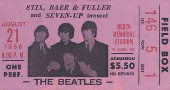 Ticket for The Beatles at Busch Stadium, St Louis, 21 August 1966