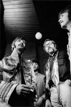 Ringo Starr, Mal Evans and John Lennon during the Sgt Pepper cover shoot, 30 March 1967