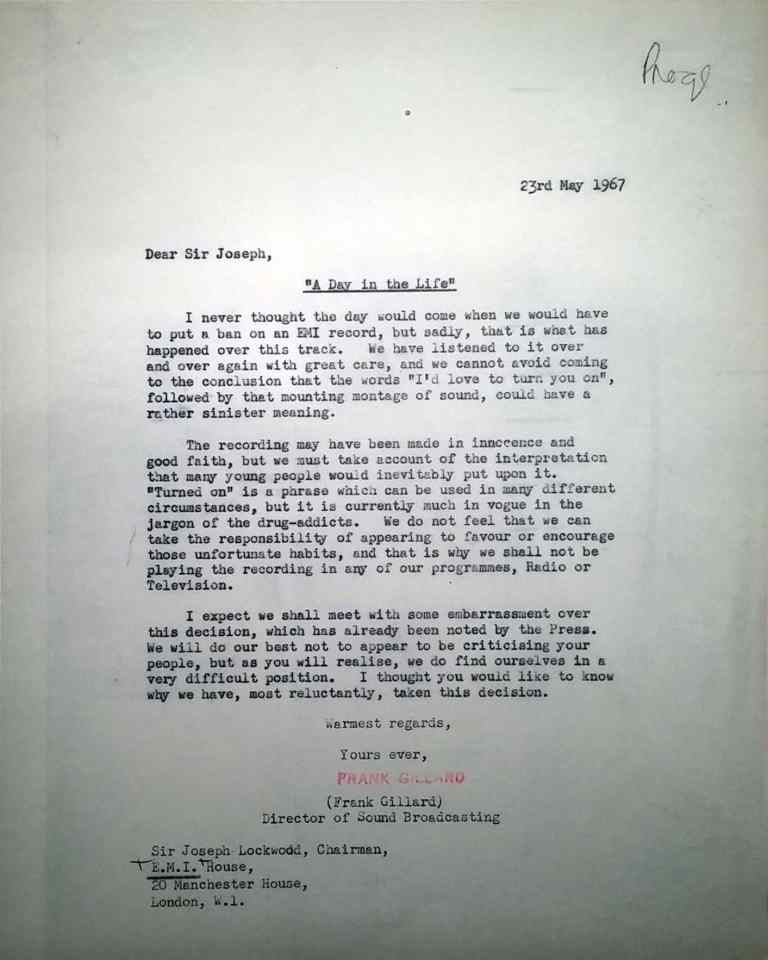 BBC letter informing EMI of the ban of A Day In The Life