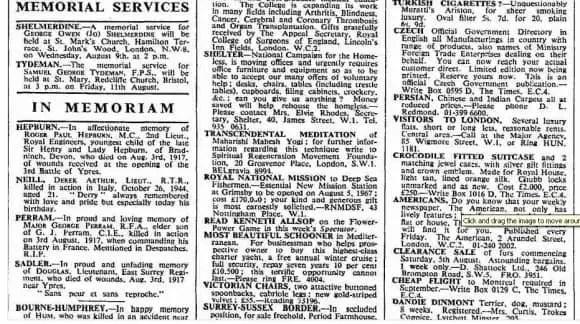Advertisement about Maharishi Mahesh Yogi, The Times newspaper, 3 August 1967