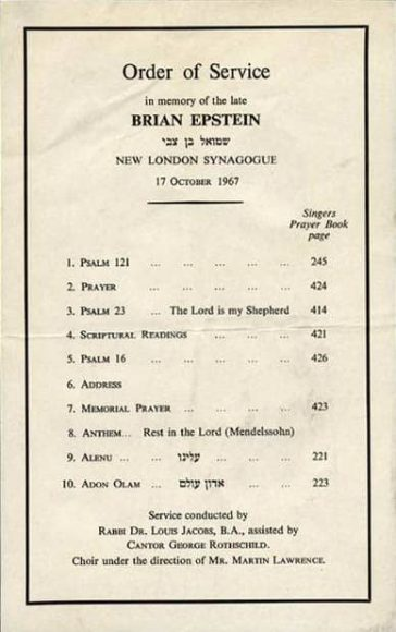 Order of service for Brian Epstein's memorial, 17 October 1967
