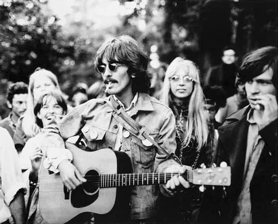 George and Pattie Harrison in Haight-Ashbury, San Francisco, 7 August 1967