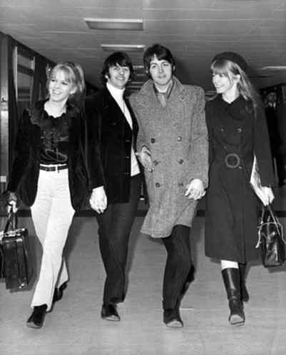 Ringo Starr and Maureen Starkey, Paul McCartney and Jane Asher fly to India, 19 February 1968