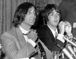 John Lennon and Paul McCartney at a press conference in New York, 14 May 1968