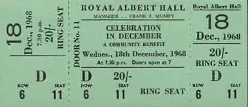 Ticket for John Lennon and Yoko Ono's Alchemical Wedding event, 18 December 1968