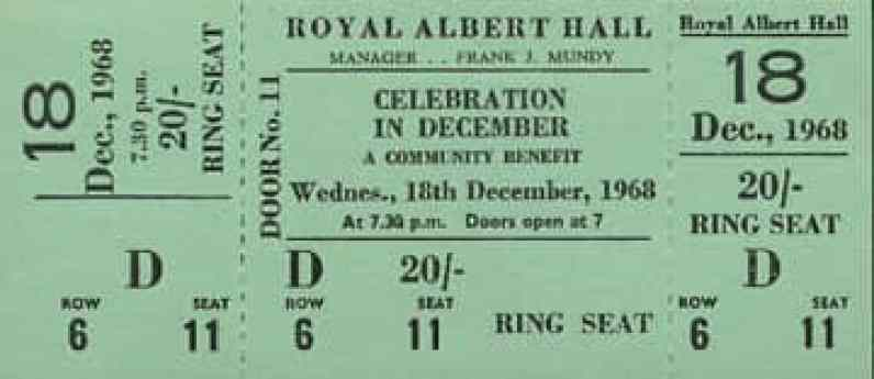 Ticket for John Lennon and Yoko Ono's Alchemical Wedding event, 18 December 1968