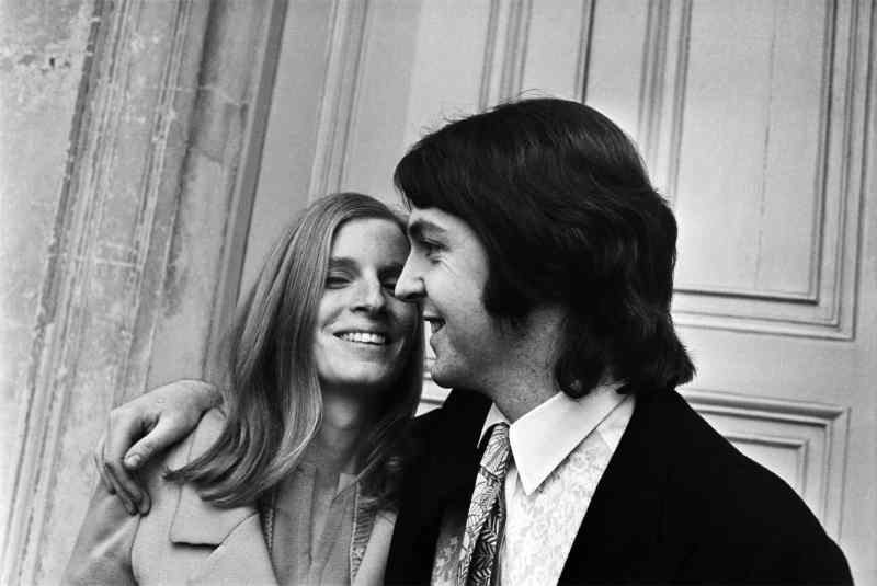 Paul and Linda McCartney on their wedding day, 12 March 1969
