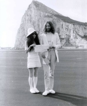 John Lennon And Yoko Ono In Gibraltar On Their Wedding Day 20 March 1969