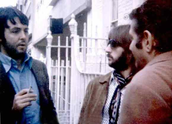 Paul McCartney, Ringo Starr and Allen Klein outside Apple, 3 Savile Row, 20 September 1969