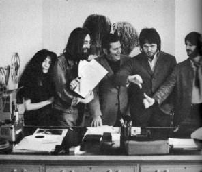 Yoko Ono, John Lennon, Allen Klein, Paul McCartney and Ringo Starr at Apple, 3 Savile Row, 20 September 1969