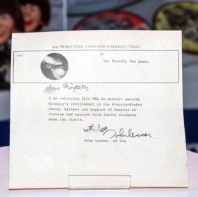 Letter from John Lennon to the Queen returning his MBE, 25 November 1969