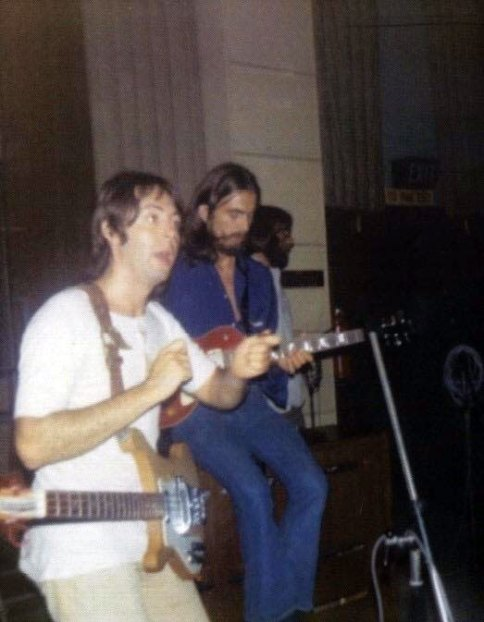 Paul McCartney and George Harrison recording Abbey Road, 1969