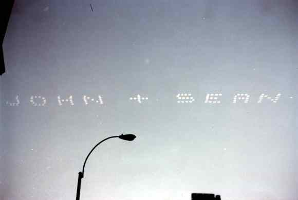 Skywriting on John Lennon's 40th birthday, 9 October 1980