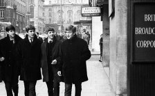 The Beatles outside a BBC radio studio