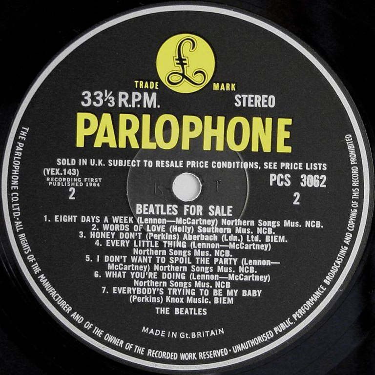 Label for the Beatles For Sale vinyl LP (side 2)