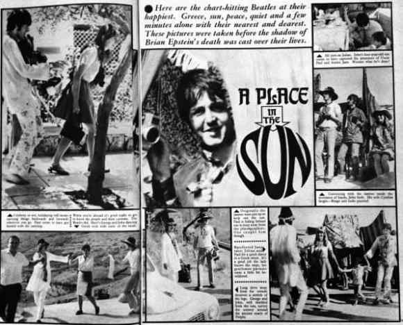 Feature on The Beatles' holiday in Greece, from Fab 208 magazine, 7 October 1967
