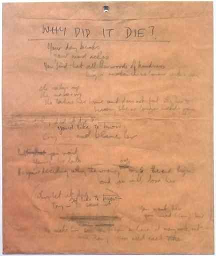 Paul McCartney's lyrics for Why Did It Die?, later retitled For No One
