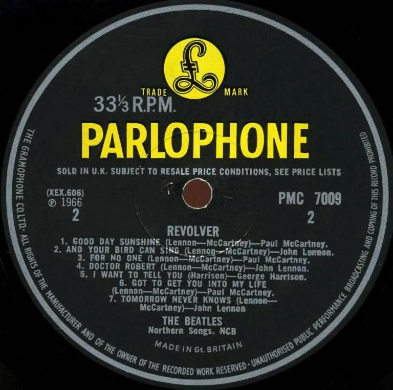 Label for The Beatles' Revolver album, side B