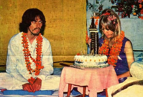 George and Pattie Harrison on her 24th birthday, India, 17 March 1968