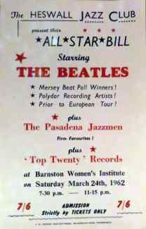 Heswall Jazz Club poster, 24 March 1862