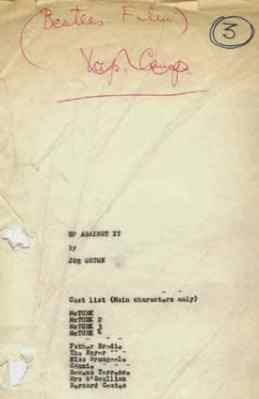 Joe Orton's script for Up Against It, a proposed third Beatles film