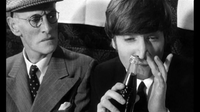 John Lennon, a Pepsi bottle and Wilfrid Brambell in A Hard Day's Night, 1964