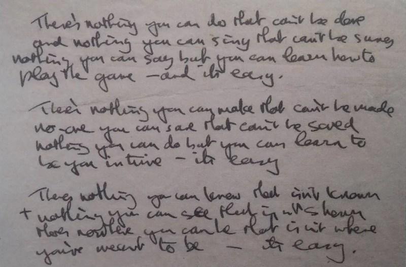 John Lennon's lyrics to All You Need Is Love, 1967