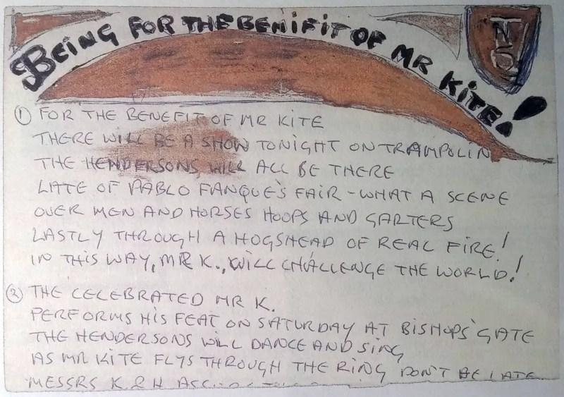 John Lennon's lyrics for Being For The Benefit Of Mr Kite!