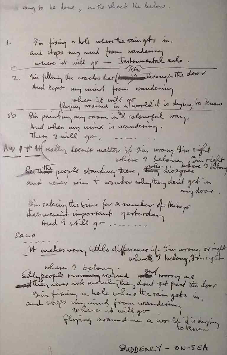 Paul McCartney's lyrics for Fixing A Hole