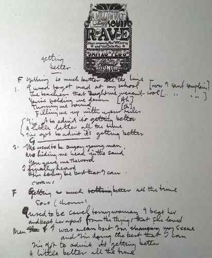 Paul McCartney's lyrics for Getting Better