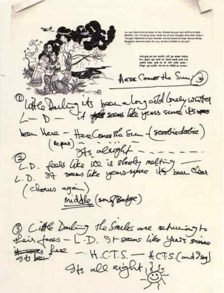 George Harrison's handwritten lyrics for Here Comes The Sun