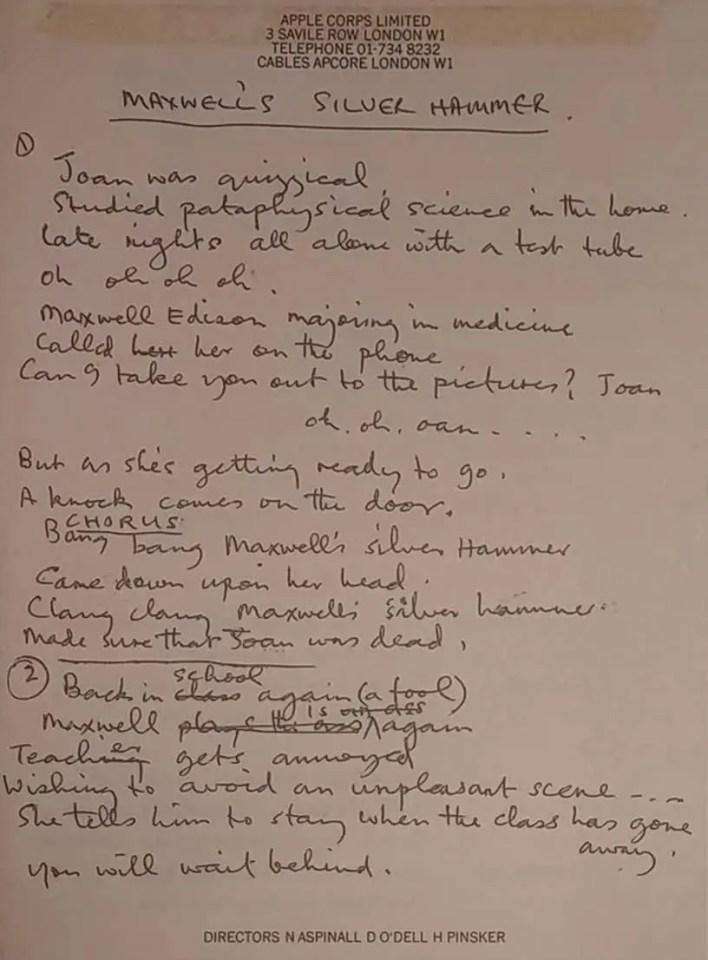 Paul McCartney's lyrics for Maxwell's Silver Hammer