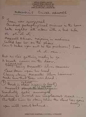 Paul McCartney's lyrics for Maxwell's Silver Hammer