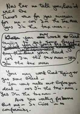 George Harrison's lyrics for The Beatles' song Taxman