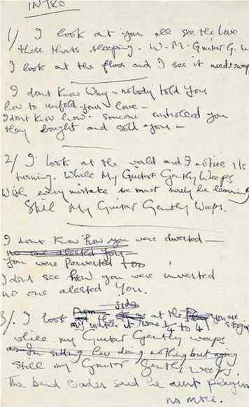 George Harrison's handwritten lyrics to While My Guitar Gently Weeps